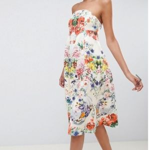 ASOS Scuba Floral Midi Dress NEW 14